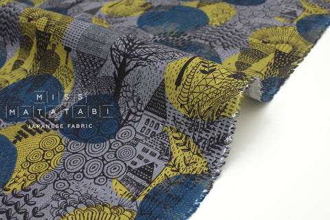 Japanese Fabric 100% Linen Forest Town - blue - 50cm