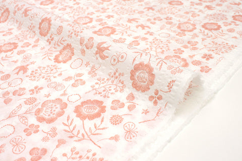 Japanese Fabric Cotton Seersucker Woodblock Floral - pink, white - 50cm