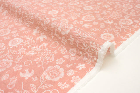 Japanese Fabric Cotton Seersucker Woodblock Floral - pink - 50cm