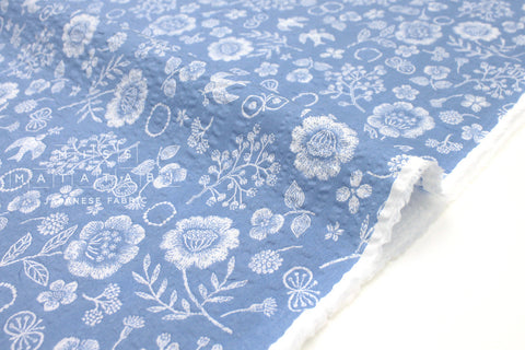 Japanese Fabric Cotton Seersucker Woodblock Floral - sky blue - 50cm