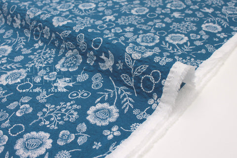 Japanese Fabric Cotton Seersucker Woodblock Floral - blue - 50cm