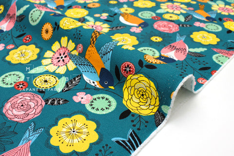 Japanese Fabric Nordic Forest - teal blue - 50cm
