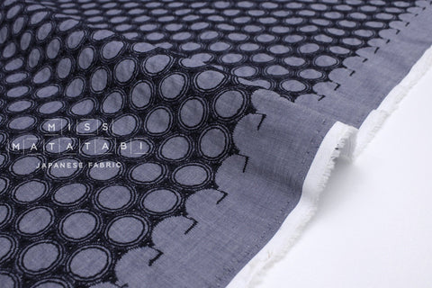 Japanese Fabric Embroidered Eyelet Circles - dark blue - 50cm