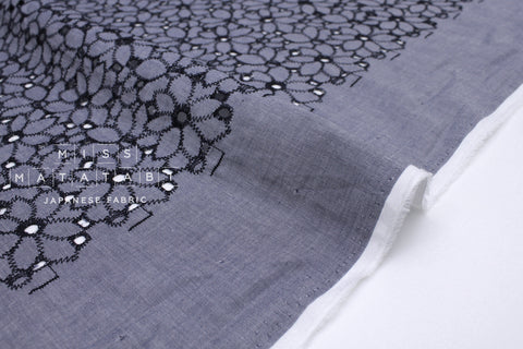 Japanese Fabric Embroidered Eyelet Floral - dark blue - 50cm