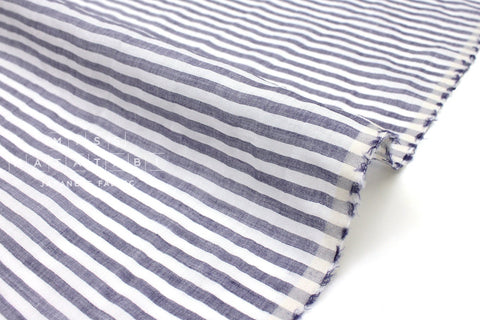 Japanese Fabric 100% Linen Stripes - blue -  50cm