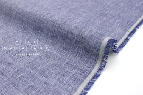 Japanese Fabric 100% Chambray Linen - blue -  50cm