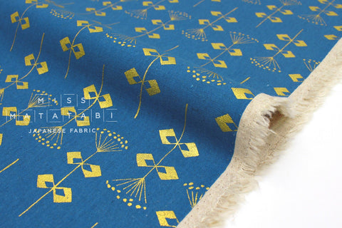 Japanese Fabric Cotton + Steel Neko and Tori Canvas - Penpengusa - blue metallic - 50cm