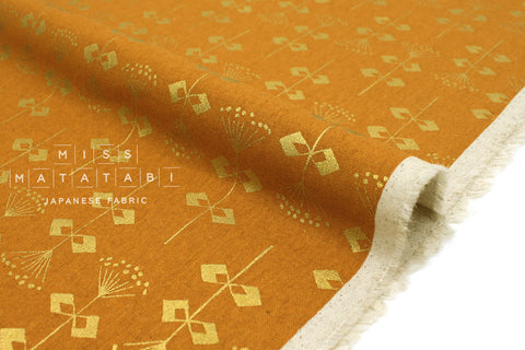 Japanese Fabric Cotton + Steel Neko and Tori Canvas - Penpengusa - acorn metallic - fat quarter