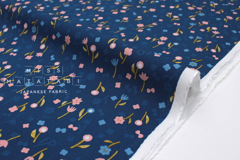 Cotton + Steel Once Neko and Tori Rayon - flower picking - blue - 50cm
