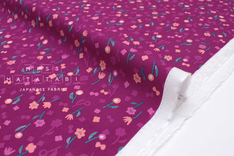 Cotton + Steel Once Neko and Tori Rayon - flower picking - orchid - 50cm