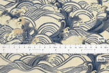 Japanese Fabric Wild Waves II dobby - stone, blue - 50cm