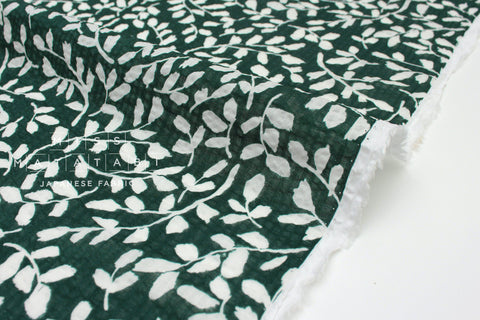 Japanese Fabric Leafy Seersucker lawn - green - 50cm