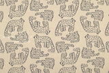 Japanese Fabric White Panther reversible double knit - latte, navy - 50cm