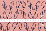 Japanese Fabric Usagi reversible double knit - pink, navy - 50cm