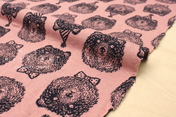 Japanese Fabric Party Bear reversible double knit - charcoal navy, pink - 50cm