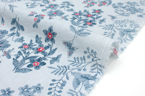 Japanese Fabric Cottage Floral - blue - 50cm