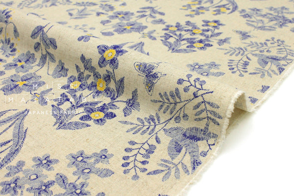 Japanese Fabric Cottage Floral - natural, blue - 50cm
