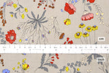 Japanese Fabric Curbside Flowers Brushed Twill - taupe - 50cm