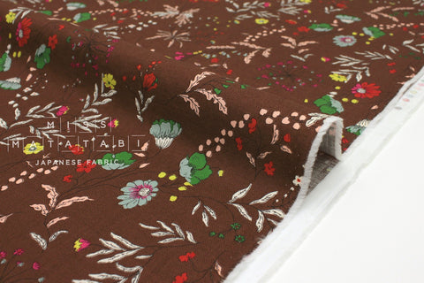Japanese Fabric Curbside Flowers Brushed Twill - earth brown - 50cm