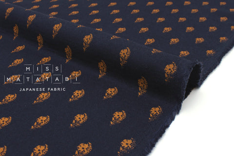 Japanese Fabric Double Gauze Paper Flowers - navy blue, burnt orange - 50cm