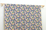 Japanese fabric Kiku - blue, peach, mustard, green - 50cm