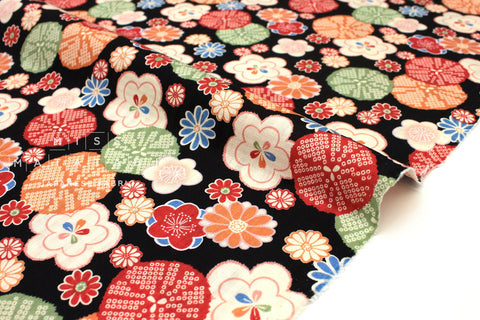 Japanese Fabric Retro Japanese dobby - black, orange - 50cm
