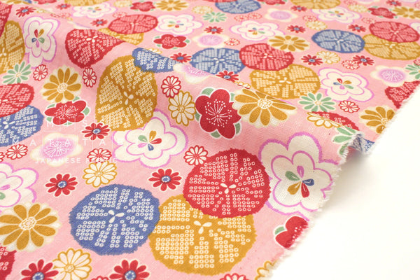 Japanese Fabric Retro Japanese dobby - pink, red - 50cm