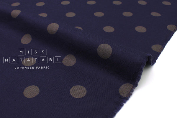Japanese Fabric Polka Dots Brushed Twill - navy blue, grey - 50cm