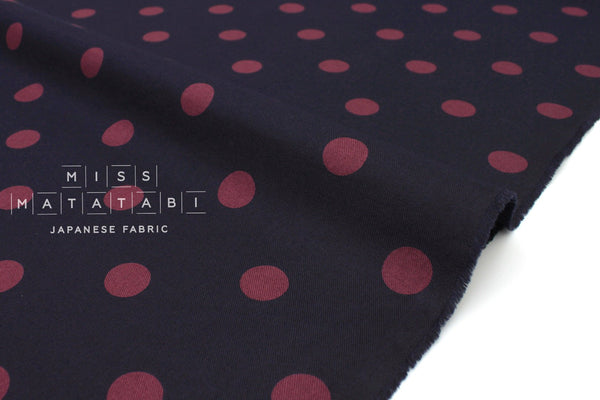Japanese Fabric Polka Dots Brushed Twill - navy blue, wine - 50cm