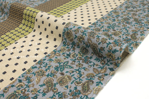 Japanese Fabric Print Stripes - green, blue, mocha - 50cm