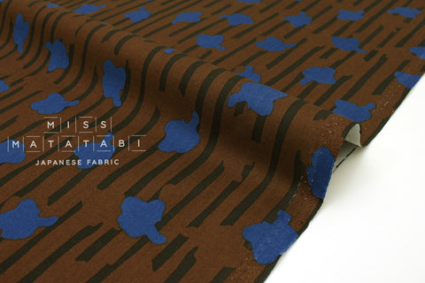 Japanese Fabric In The Woods - earthy brown, blue  - 50cm