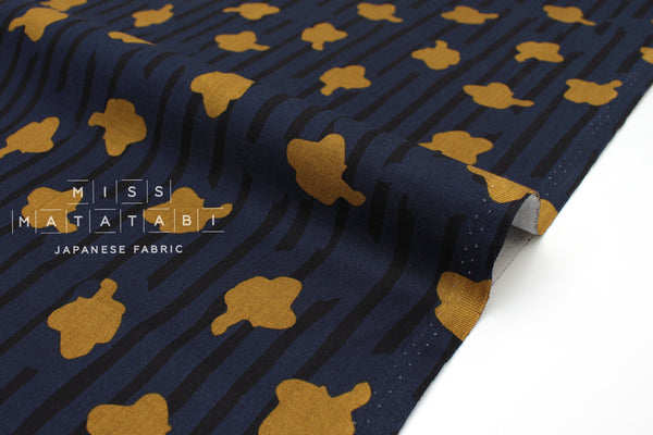 Japanese Fabric In The Woods - navy blue, gold mustard - 50cm