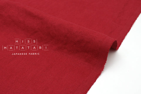 Japanese Fabric 100% washed linen - red -  50cm