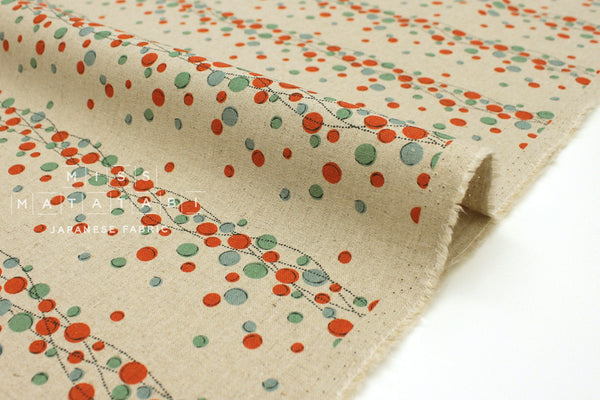 Japanese Fabric Kokka Tayutou Cider - red, sage green - 50cm