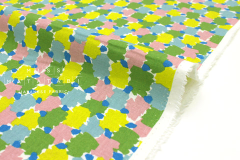 Japanese Fabric Kokka Tayutou Paint - green, pink, blue - 50cm