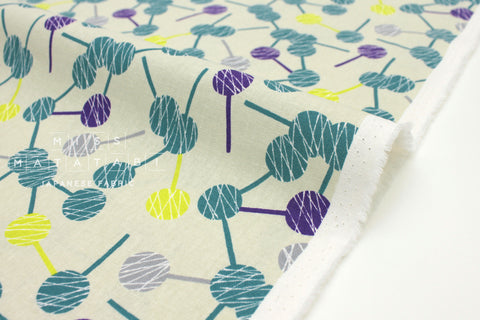 Japanese Fabric Kokka Tayutou Lolipop - green, grey, purple - 50cm