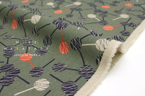 Japanese Fabric Kokka Tayutou Lolipop - navy, orange, green grey - 50cm