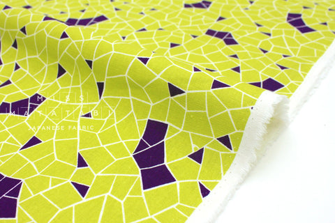 Japanese Fabric Kokka Tayutou Fortune - lime, purple - 50cm