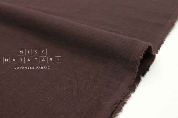 Japanese Fabric Kobayashi Solid  Linen Cotton Double Gauze - chocolate - 50cm