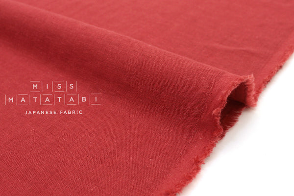 Japanese Fabric Kobayashi Solid  Linen Cotton Double Gauze - red - 50cm
