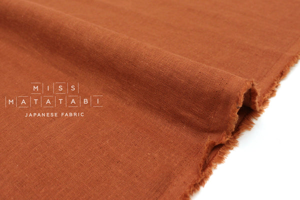 Japanese Fabric Kobayashi Solid  Linen Cotton Double Gauze - terracotta - 50cm
