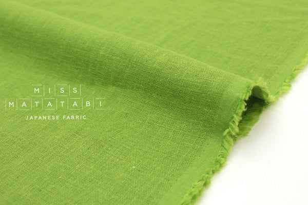 Japanese Fabric Kobayashi Solid  Linen Cotton Double Gauze - green - 50cm