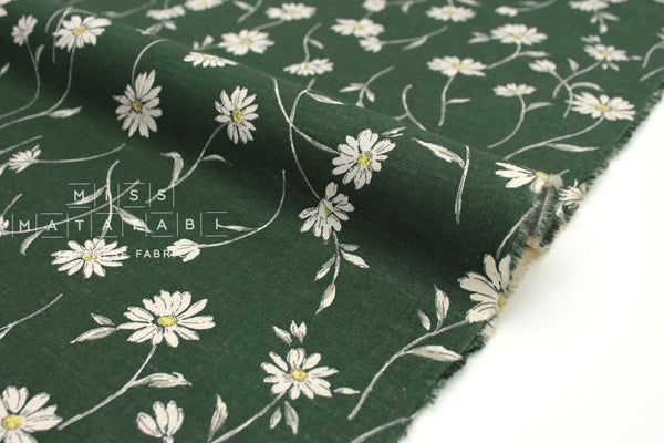 Japanese Fabric Daisies - forest green - 50cm