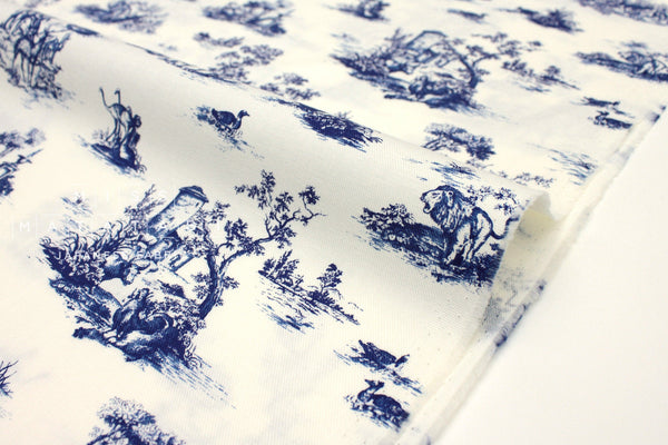 Japanese Fabric Animal Toile Brushed Twill - off white, navy blue - 50cm