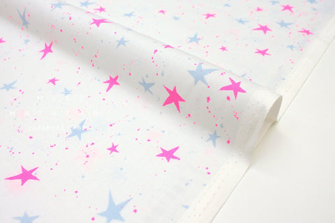 Japanese Fabric Cotton + Steel Snow Flowers - kira kira boshi - snow neon - 50cm