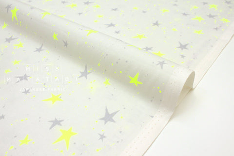 Japanese Fabric Cotton + Steel Snow Flowers - kira kira boshi - white neon - 50cm