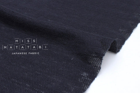 Japanese Fabric 100% Linen Knit - navy blue - 50cm