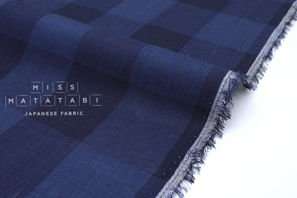 Japanese Fabric 100% linen Buffalo Check - blue -  50cm