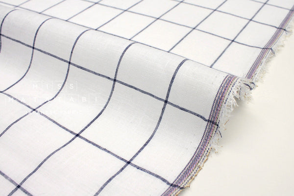 Japanese Fabric 100% linen Windowpane Check - navy blue, white -  50cm