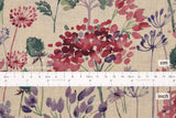 Japanese Fabric 100% Linen Summer - wine, berry, green -  50cm